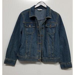 Christopher & Banks jean jacket with Harley Davids